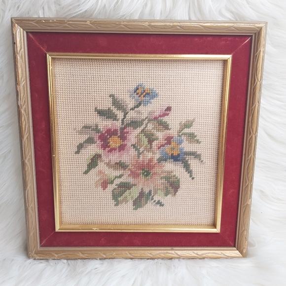 Antique Cross Stitch Needlepoint Floral Framed Art